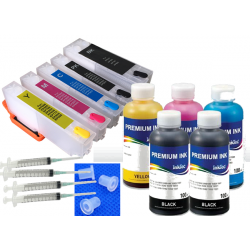 KIT 33XL EPSON cartuchos rellenables t3361 + 5 x 100 ml tintas InkTec para XP-900 530 540 640 7100...