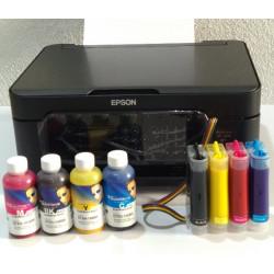 impresora Epson WF-2810 A4 con CISS instalado y lleno de tinta para sublimación de Inktec
