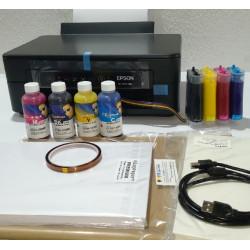 Combo impresora Epson XP-2100 A4 con CISS instalado y lleno de tinta para sublimación, con 200 hojas