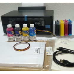 Combo impresora Epson XP-2100 A4 con CISS instalado y lleno de tinta para sublimación, con 240 hojas