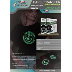 10 hojas A4 de Papel de transferencia fluorescente Luminius Dark Vision para tela de algodón oscuro