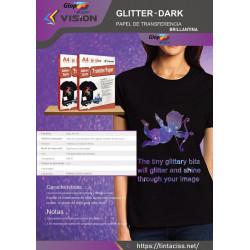 10 hojas A4 de papel transfer brillante Glitter Dark Vision para uso en algodón