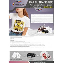 10 hojas A4 de Papel de transferencia Vision usando plancha a prendas de algodón Iron-On
