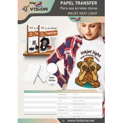 10 hojas A4 de papel de transfer Vision para algodón claro