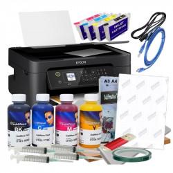 Impresora A4 Epson WF-2810 y Kit cartuchos recargables, tintas y papel de Sublimación